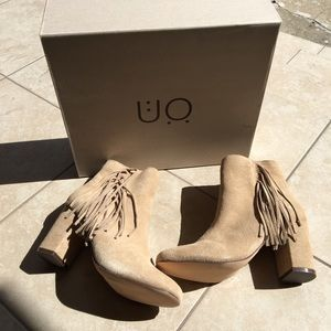 Urban outfitters suede fringe booties